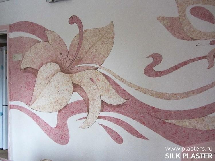 нескольких рисунок цветы из жидких обоев ходу действия
