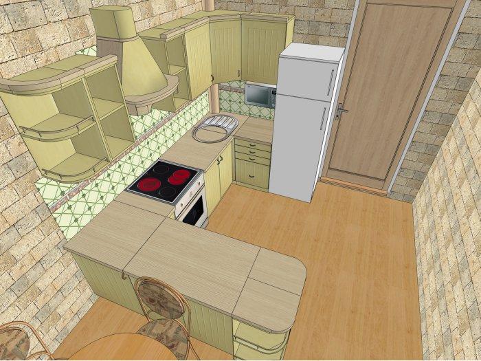 как расположить мебель в прямоугольной кухне фото убрать фото