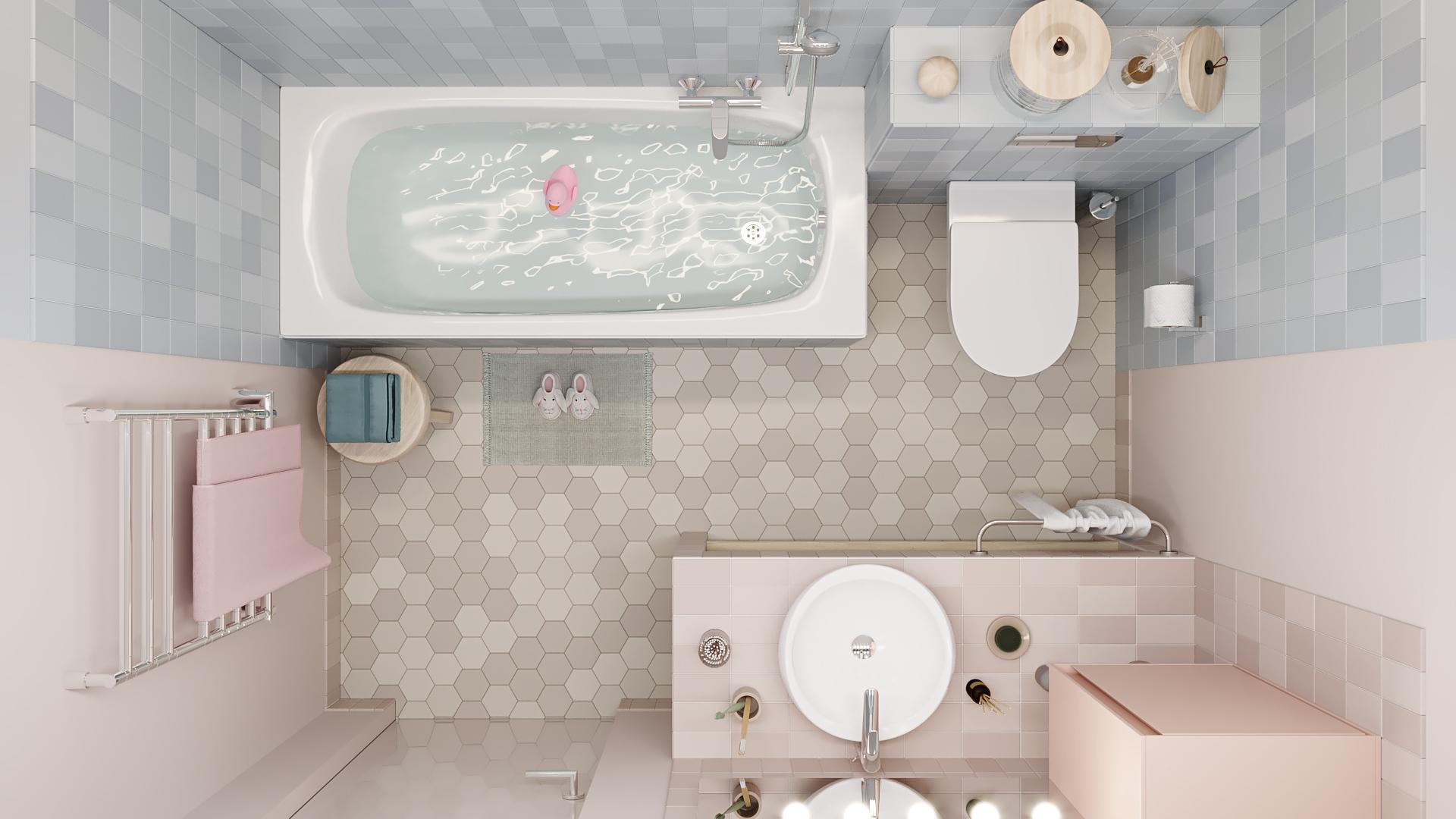 фото:Наше небольшое пространство детской ванной комнаты имеет оригинальный цветовой прием - пространство поделено цветом на два части
