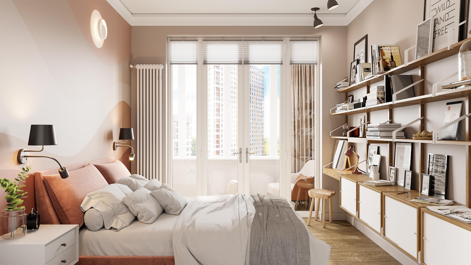 фото:Спальная комната получилась просторной за счет того, что при входе мы оригинальным способом разместили систему хранения и при этом, разгрузили по максимуму основную часть пространства, сделав его легким и просторным в восприятии