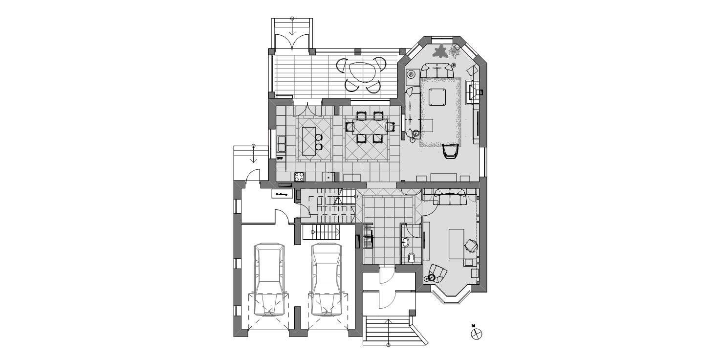 фото:Небольшой дом для семьи с двумя детьми проектировался как место, в которое можно было бы уезжать из мегаполиса на выходные. Чтобы погреться у камина, закутаться в плед или прогуляться по лесу. Создавая проект, мы вдохновлялись американскими интерьерами, которые и легли в основу. Особенно ярко это видно на примере первого этажа, где располагается общая зона с гостиной-столовой-кухней, прихожей, санузлом и гаражом.
