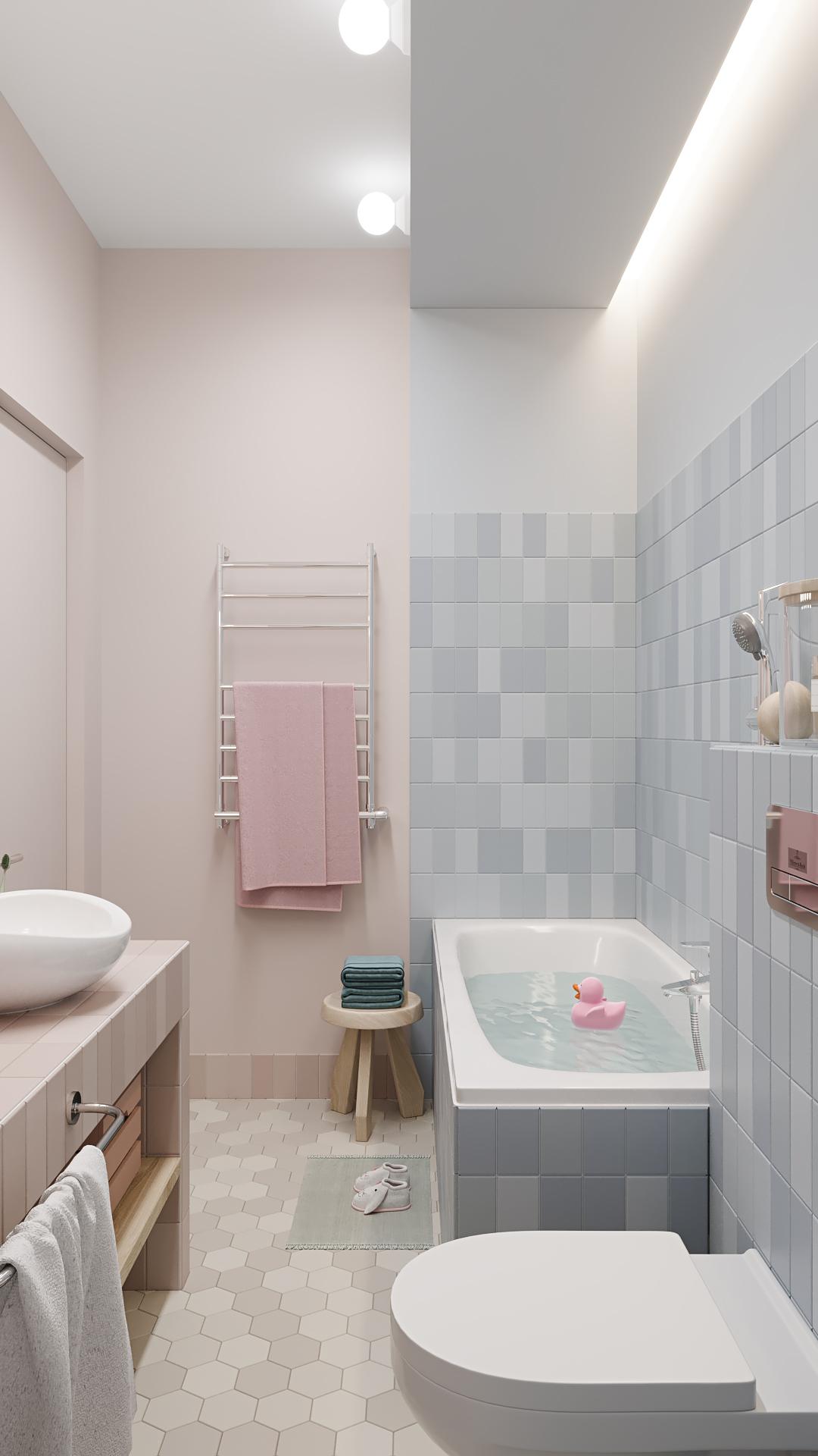 фото:Освещение в ванной комнате должно быть продумано следующим образом так, чтобы источники потолочного света не мешал отдыху лежа в ванной, но при этом, был достаточным для проведения различных банных процедур. Исходя из требований освещение, в этой небольшой детской ванной комнате, освещение устроено в виде небольших, шарообразных светильников на торце потолочного опуска. В дополнение устроена скрытая светодиодная подсветка