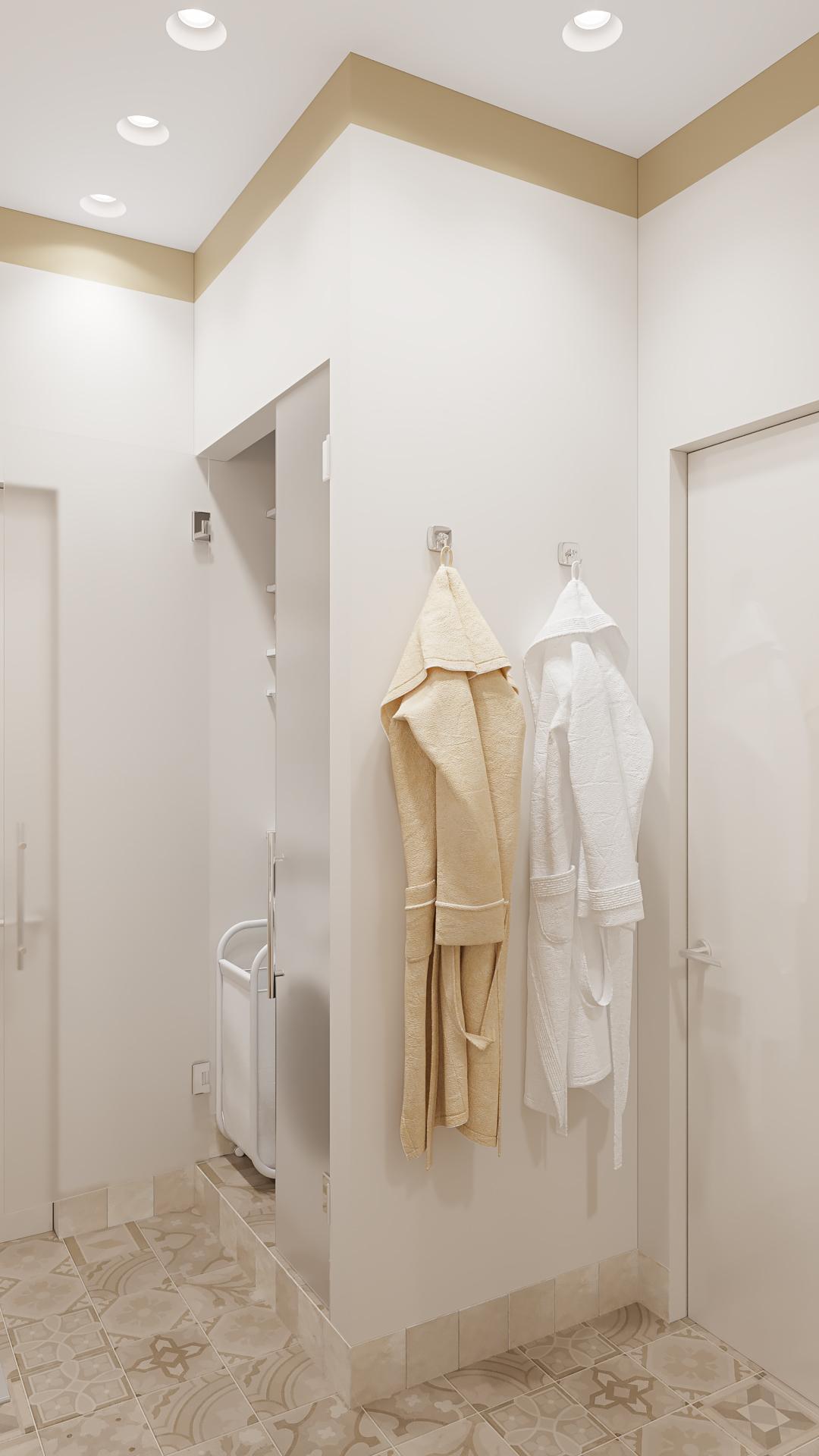 """фото:Иногда систему хранения можно выполнить в строительном исполнении, например как в нашем случае - хозблок спрятан за стенами ванной комнаты. При таком исполнении, мы получаем идеально подходящий элемент """"мебели"""", в котором можно качественно вывести все коммуникации, организовать вентиляцию и спрятать много полезных для быта вещей (стиральная машина, сушка, водонагревательный бак, место хранение бытовой химии и хозяйственного инвентаря). Доступ в такого рода шкаф выполняется через распашные стеклянные двери. Лучше использовать матовое стекло сатинат"""