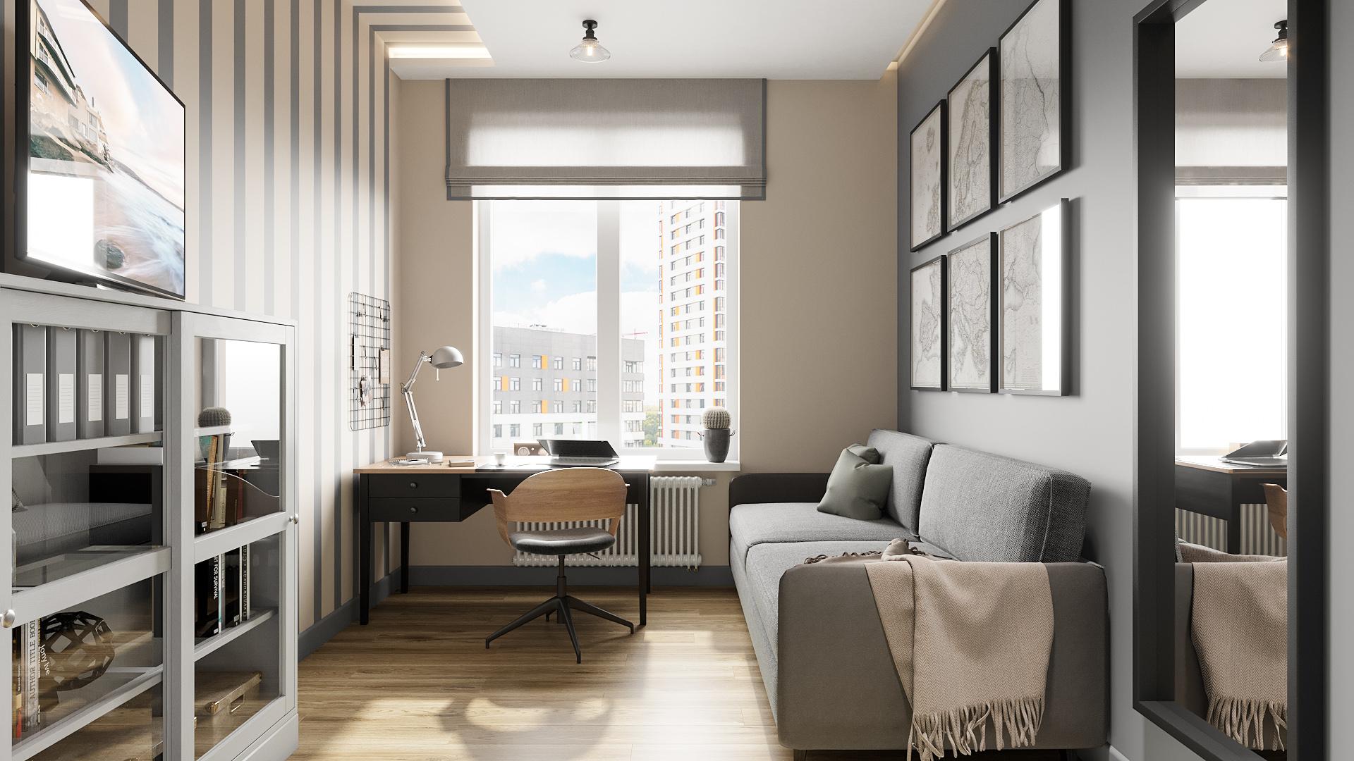 фото:Жилое пространство этой квартиры позволило организовать гостевую комнату, которая время от времени будет занята гостями. Ну а постоянным назначением этой комнаты является кабинет хозяина. Пространство наполнено всем необходимым: платяной шкаф, рабочее место, а также раскладной диван