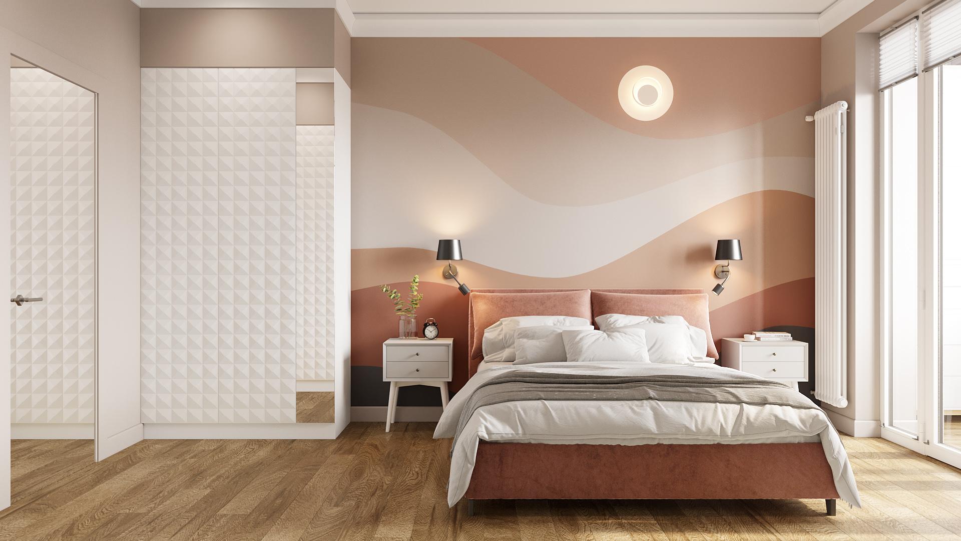 фото:Оригинальным образом выстроены оттенки цвета капучино в художественное панно в изголовье кровати. На нем изображены воздушные холмы в теплом свечении луны