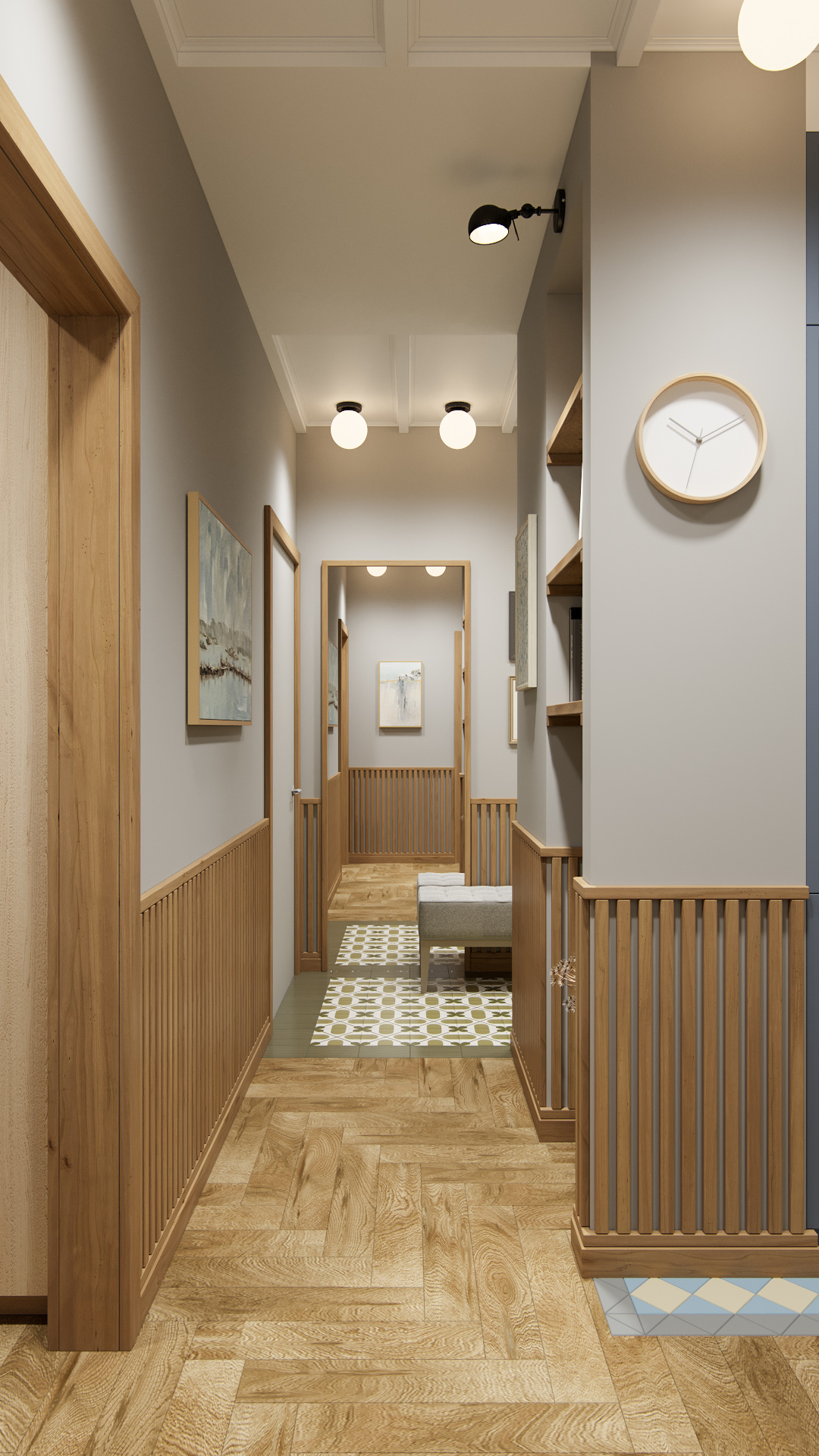 фото:В каждом дизайн проекте я придумываю что-то новое. В этом проекте, в нижней части стены входной группы, мы реализовали реечный деревянный декор, который сочетается с обрамлением скрытых межкомнатных полотен, образуя продуманную и завершенную композицию. Это решение помогает защитить стены от механических повреждений и придает пространству уют