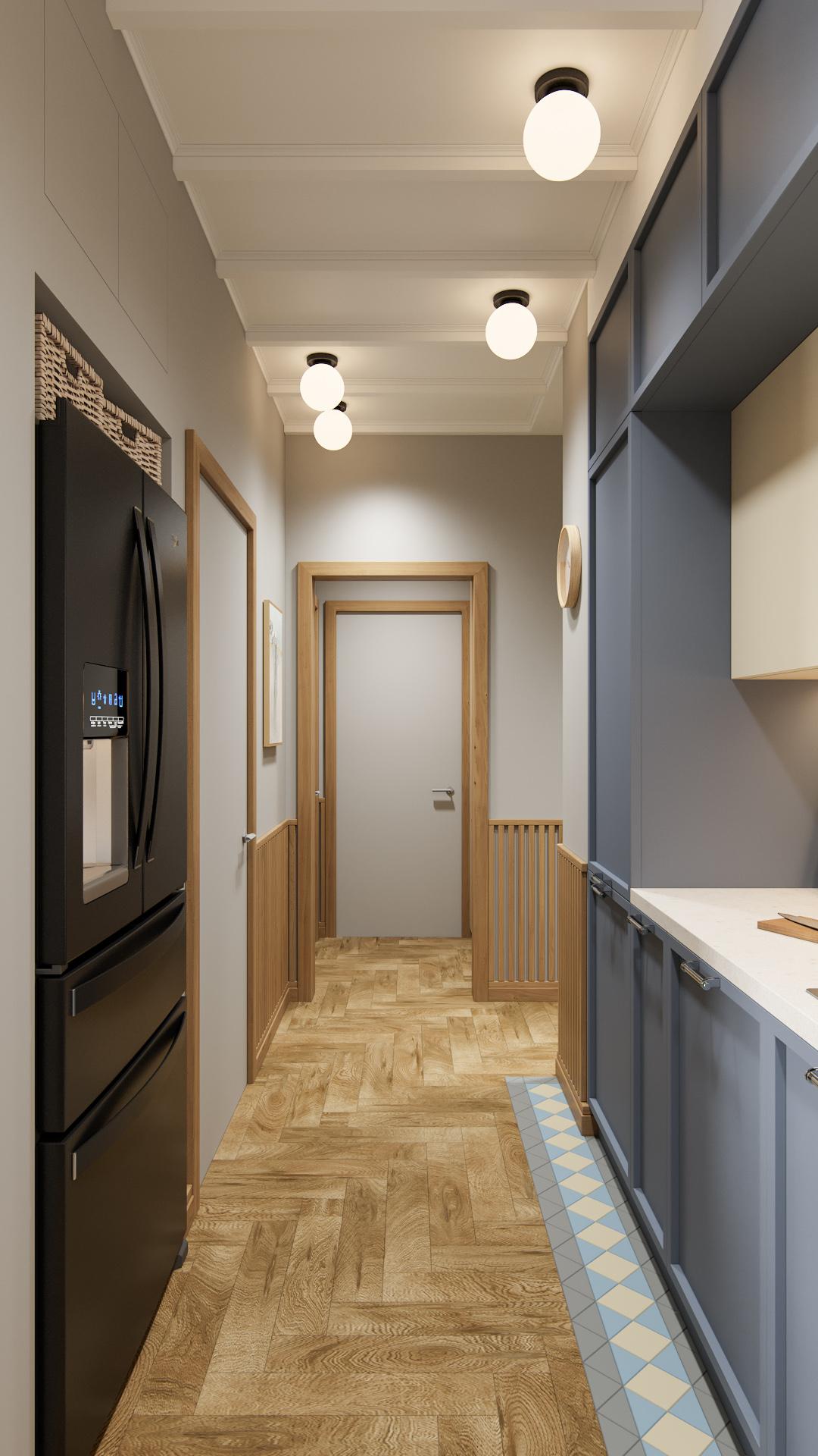 фото:В этом проекте используются скрытые межкомнатные двери, которые выкрашены в цвет стен и оформлены деревянным обрамлением из массива дерева